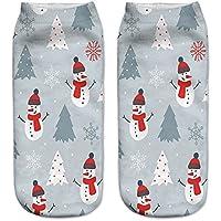 Zolimx 3D Gedruckte Weihnachtsmann-Expression Socken Beiläufige Socken Niedliche Unisex-Socken des niedrigen Schnittes