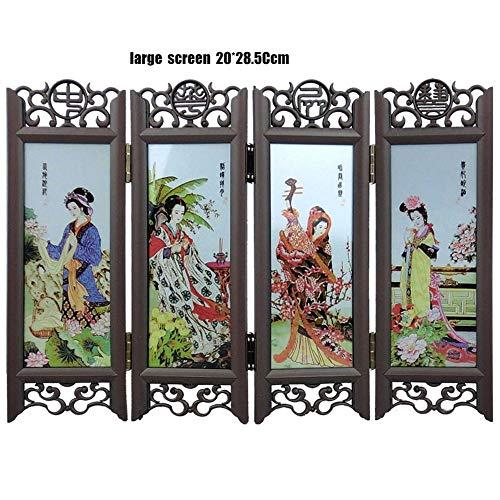 ANAN Paravent Kunsthandwerk Desktop-Dekoration chinesischen Retro-Glas antiken Mini-Bildschirm Schmuck Raumteiler Bildschirm,9 -