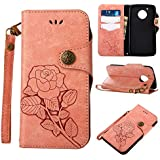 Moto G5 Protective Case, UNEXTATI Vintage Rose Pattern Stand PU Leather Flip Cover, Wallet Case Cover With Hand Strap For Moto G5 (Pink)