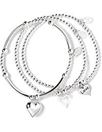 Set of 3 Sterling Silver 'Rice & Noodle' Ball Bead Bracelets- Love Hope & Charity r3g4sR