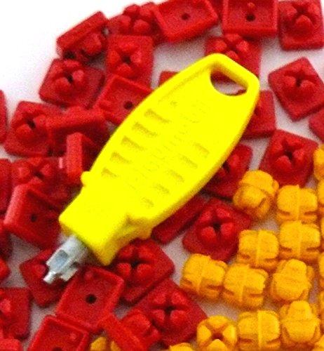 Preisvergleich Produktbild playmobil ® - 51x X System Noppen Stecker Steckverbinder - 30x rot / 20x gelb / 1 Schlüssel Steckschlüssel - gelb