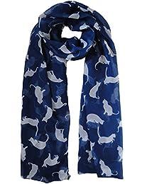 Navy Blue & White Cat Scarf Ladies Fashion Scarves
