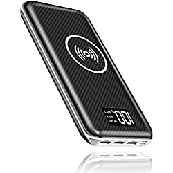 Portable Charger Power Bank, 24000mAh Wireless Charger with LED Digital Display and 3 Outputs & Dual Inputs External Battery Pack for iPhone X, iPhone 8, Samsung Galaxy S8 Note 8 and More (White)
