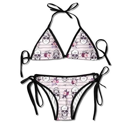 Vidmkeo 3D Flower Print Kitschy Human Skulls Custom Sexy Beach Swimwear Women's Triangle Bralette Bikini Set of 2 -