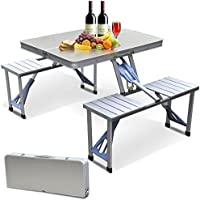 Outdoortips Set tavolo e 4 sgabelli pieghevoli, in alluminio, da esterno, per feste, campeggio, picnic, barbecue, colore: