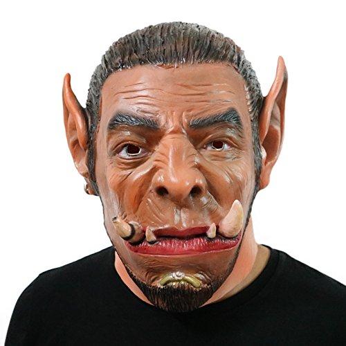 World of Warcraft WOW Ogrim Oger Maske mask Kopf aus sehr hochwertigen Latex Material mit Öffnungen an Augen Halloween Karneval Fasching Kostüm Verkleidung für Erwachsene Männer und Frauen Damen Herren gruselig Grusel Zombie Monster Dämon Horror Party Party