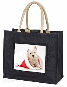 Advanta–Große Einkaufstasche West Highland Terrier Hund Große Einkaufstasche Weihnachtsgeschenk Idee, Jute, schwarz, 42x 34,5x 2cm