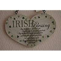 Lucky Irish Blessing Heart Sign May The Road Rise Up To You Sign Plaque Wooden by Global Designs