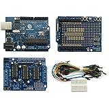 SainSmartC42 - Conjunto de tarjeta de programación UNO, escudo prototipo, tabla de pruebas, cables de puente, L293D para Arduino UNO R3 MEGA Mega2560 Nano DUE Duemilanove AVR ATMEL Robot XBee ZigBee