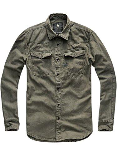 G-Star Herren 3301 PM Slim Fit Shirt, Grün Asfalt (995)