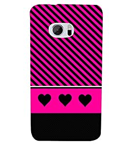 Black Heart Design 3D Hard Polycarbonate Designer Back Case Cover for HTC One M10 :: HTC M10