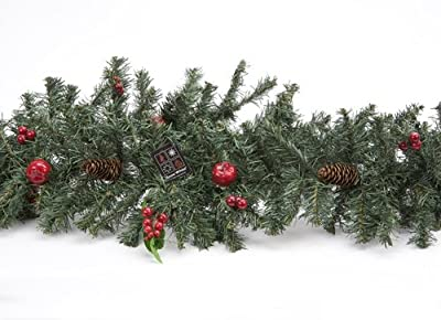 "72"" Christmas Green Garland with Berries and Pinecones (PM44)"