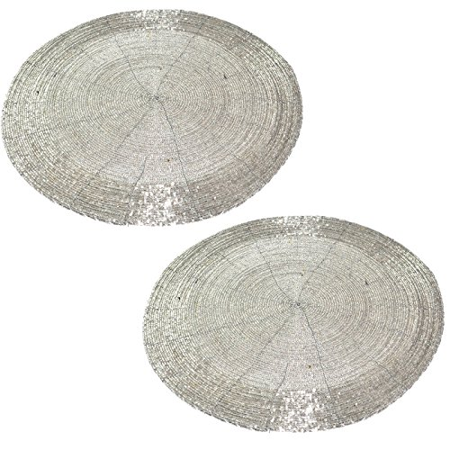 """Prisha India Craft ® SET OF 2 Handmade Silver Beaded Round Ethnic Placemat / Tablemat Decorative Placemat - large coaster Perfect for Dinner Table ( Dia - 12"""") Christmas Gift Test"""