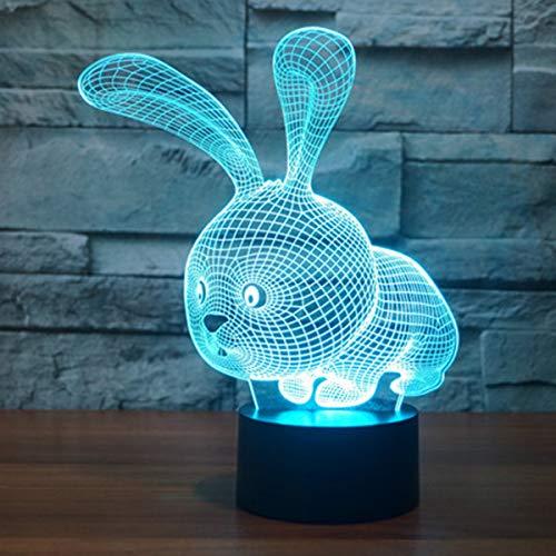 Lampade 3D Illusione Ottica Luce Notturna, EASEHOME Deco Lampada LED da Tavolo Illuminazione Luce di Notte 7 Colori Controllo Tattile Lampada Decorazione da Comodino con Cavo USB, Coniglio