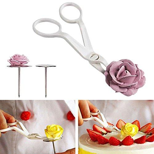 tion Nagel 3pcs Piping Blumenschere + Nagel-Zuckerglasur backen den Kuchen, der Kuchen-Gebäck-Werkzeuge verziert (B) ()