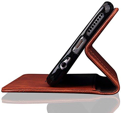 """Nnopbeclik® [Coque Iphone 6 silicone/Coque Iphone 6S silicone] """"Portefeuille"""" en Bonne Qualité PU Cuir Housse pour Iphone 6 Coque Apple/Iphone 6S Coque Apple (4.7 Pouce) Simple Style Flip Case Intérie marron"""