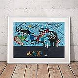 Rjjwai Les Aventures De Tintin Mur Art Toile Peinture Image Personnages De Bande Dessinée Tintin Art Toile Imprimer Enfants Chambre Wall Decor Chambre À Coucher...