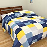 AMZ Yellow Checks Adorable Print Reversible Single Bed Ac Blanket/Dohar (85 X 55 Inches) Multicolor
