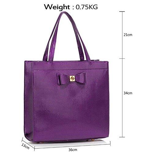 LeahWard® Große Größe Damen Patent Bogen Schultertaschen nett Berühmtheit Stil Tragetasche Handtaschen 383 A-Lila