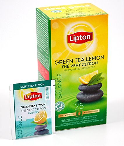 Lipton 6 Boxes Green Tea with Lemon in New Packaging 25 tea bags per box
