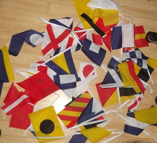 AZ FLAG FAHNENKETTE FLAGGENALPHABET 13 Meter mit 40 flaggen 21x14cm- SIGNALTABELLE Girlande Flaggenkette 14 x 21 cm -