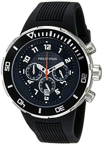 Philip Stein Men's 33-XB-RB Active Black Rubber Strap Watch