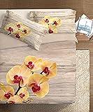 Ipersan, Parure Copripiumino Fotografico Piazzato Fine Art, Orchidea, 100% Cotone, Beige, Matrimoniale, 255x240x1 cm