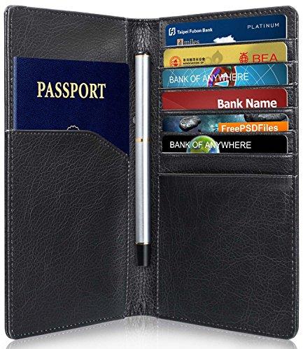 GreatShield RFID Blocking / Blocker Reisepasshülle Halter | Passhülle und Kreditkartenetui | Kreditkartenhalter und Leder Lange Brieftasche | Portemonnaie | Portmonee | Geldbörse | Geldbeutel [7 Karte Schlitze | 2 Cash Fach | 1 Reisepass Schlitz] für Kreditkarte, Personalausweis, EC-Karte, Reisepass, Bankkarte, Ausweis - NFC Schutz Kreditkarten Schutzhülle für Männer und Frauen (Schwarz) (Herren-passport-halter)