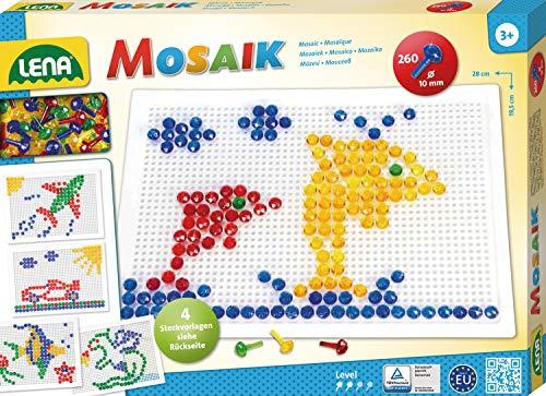 Lena 35606 - Mosaik Steckspiel Set mit 260 transparent farbigen Mosaikstecker je 10 mm und Stiftplatte 28 x 19,5 cm, Steckmosaik für Kinder ab 3 Jahre, mit Steckvorlagen Tiere, Blumen und Fahrzeuge