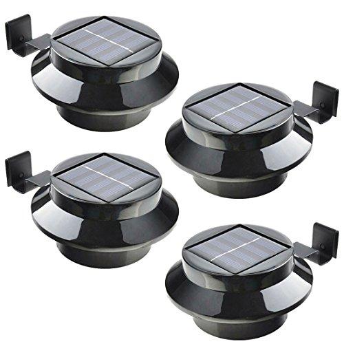 JJPRIME - 4pcs 3LED Outdoor Solar Zaun Licht angetriebene Gutter Wand Dach Garten Lampe Beleuchtung
