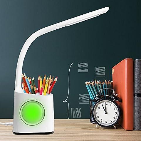 Lampe de bureau Lampe LED Lampe de protection oculaire 3 niveaux d'éclairage de luminosité Lumière nocturne colorée Avec Porte-crayons, Horloge, Réveil, Calendrier, Température Lampe de table tout-en-un pour la lecture, l'étude, le travail recharge par USB