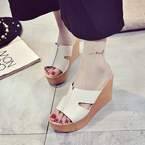 LvYuan Frauen Sommer Hausschuhe / Komfort Casual Fashion / Wedge Ferse / dicken Boden / wasserdichte Plattform / flatforms / Sandalen / sexy Strand Schuhe Beige