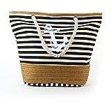 ONLYEUDORA Damen Strandtasche Große Canvas Schultertasche Mit Reissverschluss Für Shopping, Strand, Wandern, Urlaub, Freizeit, Schultag