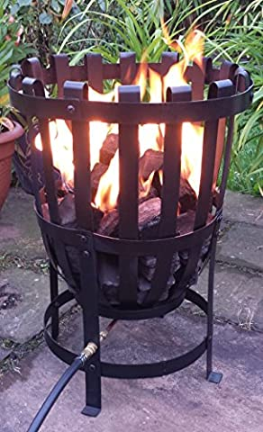 Spruce Brazier GAS Fire Pit, Real flame LPG Patio Heater, Patio / Camping Gas Clip On Propane Regulator (Green)