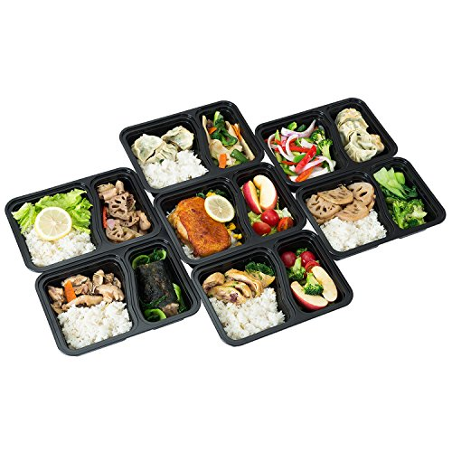 FITPREP [7er Pack] Original 2-Fach Meal Prep Container | Stapelbar, Wiederverwendbar, Spülmaschinenfest, Mikrowellen-, Gefrierschrankgeeignet, verstärkter Deckel | Bento Box | Lunchbox Frischhaltebox - 4