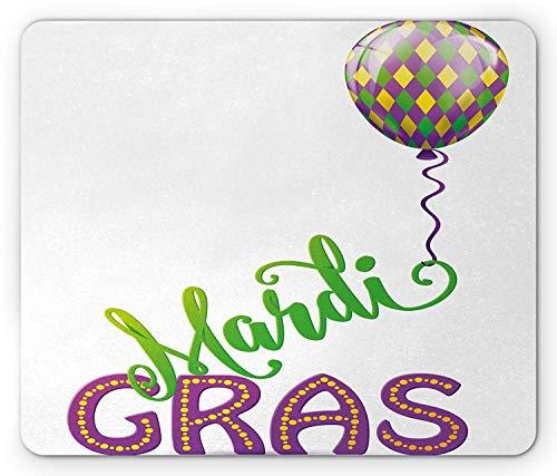 WYICPLO Mardi Gras Mouse Pad, Illustration of Cartoon Mardi Gras Color Balloon with Swirl Ribbon, Standard Size Rectangle Non-Slip Rubber Mousepad, Purple Green Yellow (Gras Trap)