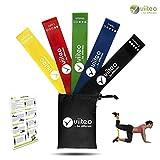 viiteo Premium Loop Band Set mit 5 Stärken – mit praktischer Tasche und Deutscher Anleitung - Fitnessbänder/Widerstandsbänder Ideal für Muskelaufbau Physiotherapie Pilates Crossfit Yoga und Gymnastik