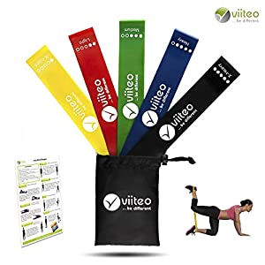 viiteo® Fitnessbänder Set 5 Stärken & Theraband, Tasche und Anleitung ideales Sportgerät für zuhause, Yoga, Pilates, Gymnastik Resistance Bands Gymnastikband Trainingsband Loop Band
