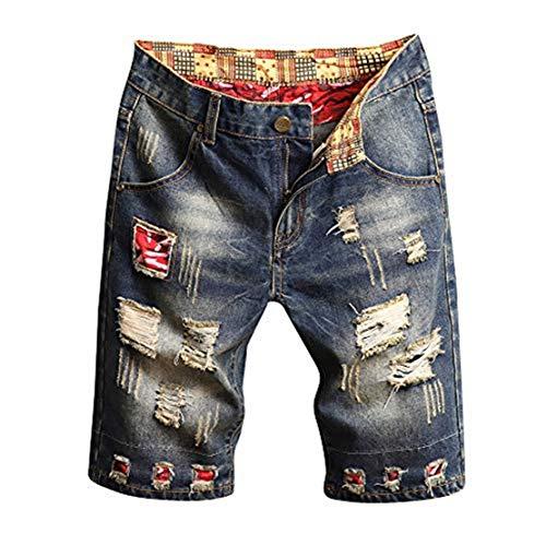 f926bf368c7c Moserian Modische Herren Casual Jeans Shorts mit gebrochenen Löchern und  plissierten Nähten