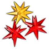3 Leuchtterne aus Papier, 2x rot, 1x gelb, 3d Weihnachtssterne fürs Fenster - Sternschmiede (Art.Nr.310) inkl. Netzteil mit 3-fach-Verteiler, Fenster-Clip und Distanz-Stab, Durchmesser 19 cm, Papier, komplett handgefertigt, kleine Leuchtsterne für den Innenbereich