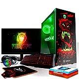 Fierce Avenger RGB Gaming PC Bundeln - Schnell 6 x 4.3GHz Hex-Core Intel Core i5 8600, Aftermarket Tower Kühler, 480GB Solid State Drive, 16GB von 2666MHz DDR4 RAM / Speicher, NVIDIA GeForce RTX 2070 8GB, ASUS TUF H310M-PLUS GAMING Hauptplatine, GameMax Draco with Witch Doctor HD Armour RGB Computergehäuse, HDMI, USB3, Wi - Fi, VR Bereit, 4K Bereit, Perfekt für High-End-Spiele, Windows 10 installiert, Tastatur (QWERTZ), Maus, 24-Zoll-Monitor, Headset, 3 Jahre Garantie 1089194