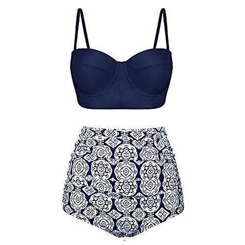 Aiserkly Damen Hohe Taille Push up Bikini Set Bademode Split Badeanzug weibliche Retro Beachwear Marine XL -