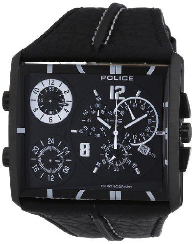 POLICE - P13497JSB-02B - Montre Homme - Quartz Chronographe - Chronomètre - Bracelet Cuir Noir