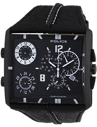 Police Tripod Men's Quartz Watch with Black Dial Chronograph Display and Black Leather Strap 13497JSB/02B