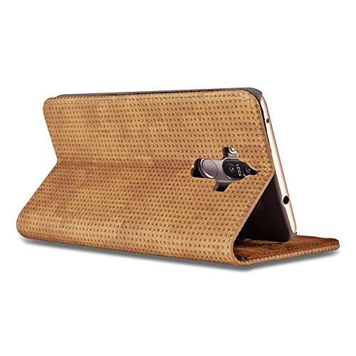 Retro Matte Breatheable Air-Mesh PU-Leder Folio Stand Brieftasche Beutel Case Cover mit Kickstand Card Slots für Huawei Mate 9 ( Color : Darkgray ) Yellow