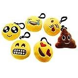 SUNYOU Stile 1 Portachiavi Emoji di peluche, 6 cm, 6 pezzi, Giallo immagine