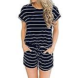 Rcool Damen Sommer Jumpsuit Kurz Gestreifte Kurzarm Jumpsuit Lässige Clubwear Hose Mit Weitem Bein (XL, Schwarz)