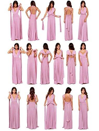 Qissy® Femmes Sans Manches Col V Multiway élégante Bandage Robe Soie Maxi Dress Pour Cocktail Party Mariage Soirée Violet