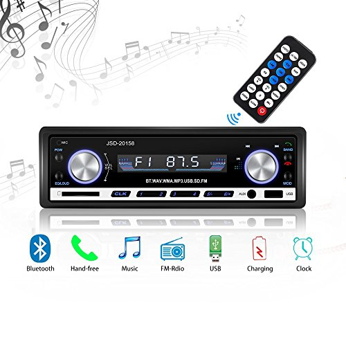 Radio de Voiture stéréo vidéo FM Radio, 4x60W Poste Radio Voiture,Autoradio Bluetooth avec Télécommande Adaptateur DIN ISO avec 2 Petits Câbles 1 Grand Câble