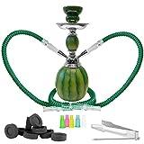 Mianova® Orientalische 2er Shisha Wasserpfeife für Partner Höhe 30cm Melone Set mit 2 Schläuche, 5 Mundstücke, Zange und Kohle 1 Rolle